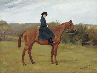 A chestnut hunter with a lady