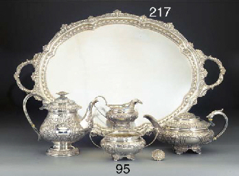 A GEORGE IV SILVER TEA AND COF