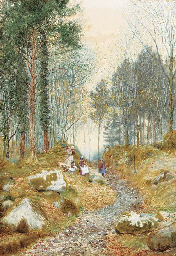 A wooded landscape with childr
