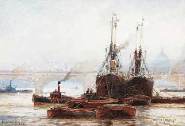 Shipping on the river Thames,