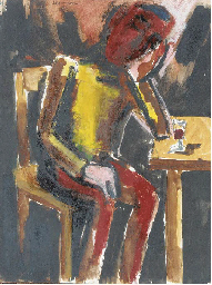 Seated Man with Glass of Wine