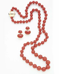 **A SUITE OF CORAL JEWELRY