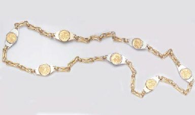 A COIN AND GOLD NECKLACE, BY B