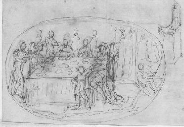 Une scène de banquet avec un r