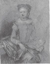Une mère assise à côté de sa f