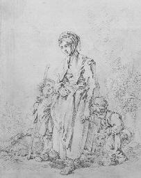 Une jeune mère avec deux enfan