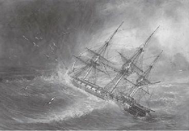 Un navire à trois mâts dans un
