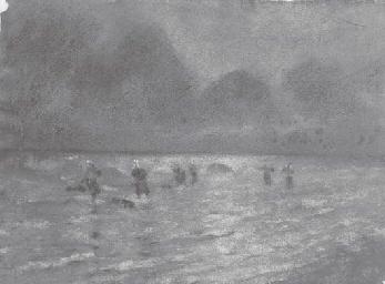 Personnages au bord de la mer