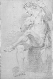 Bacchus assis, de profil à gau