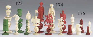 An ivory chess set, circa 1940
