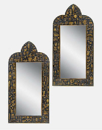 Pair of decoupage and ebonised