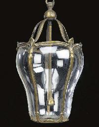 A brass hall lantern, first qu