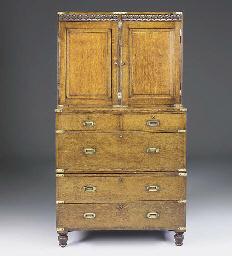 A Victorian oak campaign chest