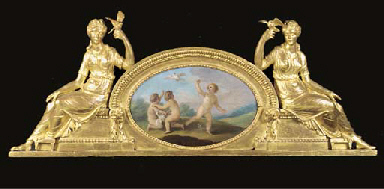 A carved giltwood overdoor or