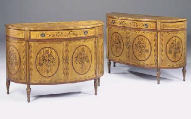 A pair of satinwood palisander