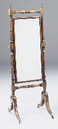 A mahogany cheval mirror, 19th