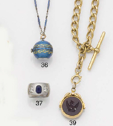 AN ENAMELLED BALL WATCH AND CH