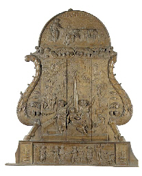 A carved wood relief