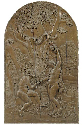 A carved wood relief of Eve gi