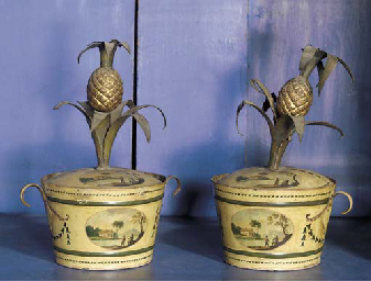 A pair of tole-peinte cachepot