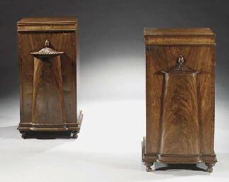 A pair of Edwardian mahogany p