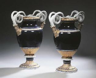 A pair of Meissen porcelain bl