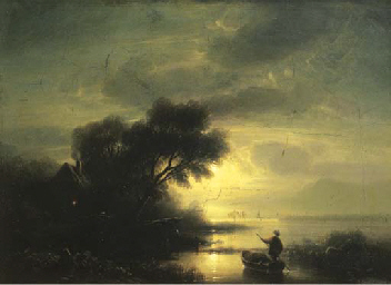 A fisherman in a moonlit lands
