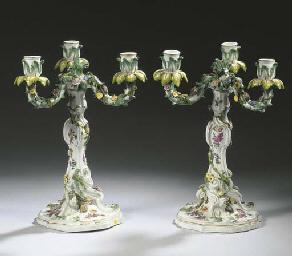 A pair of Meissen porcelain Ro