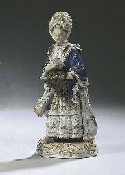 A Meissen porcelain 'lace' fig