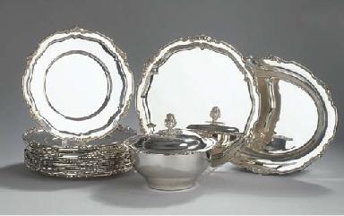Sixteen German silver plates,