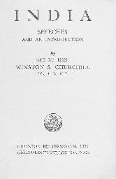 CHURCHILL, Sir Winston. India.