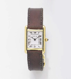 CARTIER, A LADY'S 18ct. GOLD QUARTZ WRISTWATCH signed Cartier, Model: Tank...
