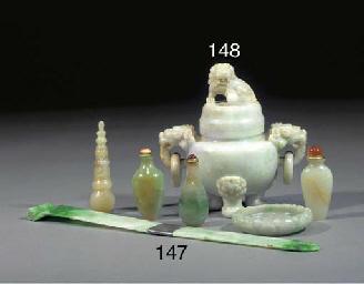 A jadeite tripod censer and co