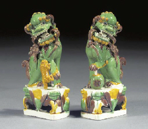 A pair of famille verte models