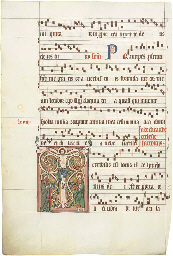 THE CRUCIFIXION, in an initial T on the verso of a leaf from a Gradual in...