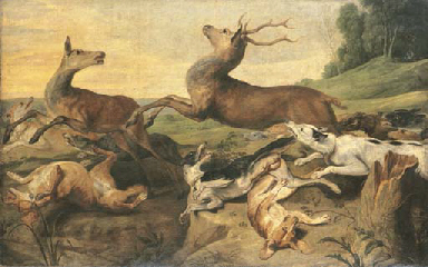 Dogs hunting deer in a landsca
