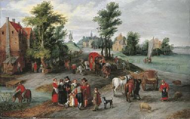 A village landscape with wagon