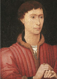 portrait of a young man, bust-length, in a fur-trimmed red doublet