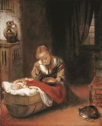 An interior with a young girl