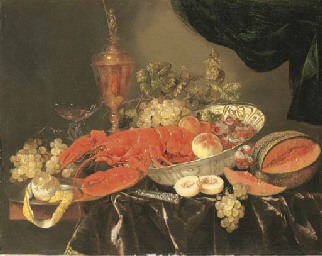 A lobster with grapes and a pe