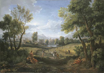 An extensive river landscape w