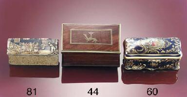A brass bound walnut three-div