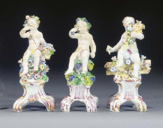 Three Bow figures of putti