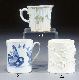 A Bow white prunus-moulded mug