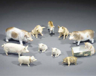 Two Belleek models of pigs and