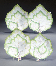 Four Berlin leaf-shaped dishes