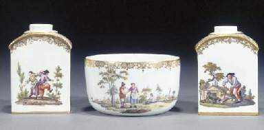 Two Meissen arched rectangular