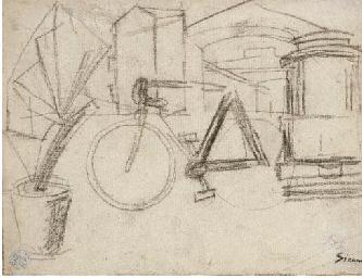 Paesaggio urbano con biciclett