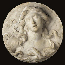 A CARVED MARBLE ROUNDEL DEPICT