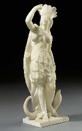 A FRENCH WHITE ALABASTER FIGUR